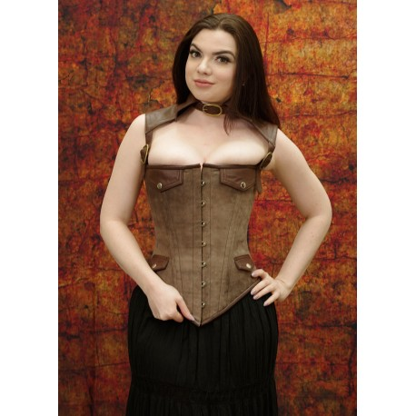 Collared Steampunk corset with faux pockets