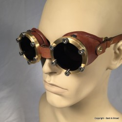 Mk 1 Brass Goggles with Leather Sides